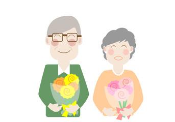 シニア, 夫婦,老夫婦、金婚式、お祝い、老後、高齢者、幸せ、還暦、家族、親、日本人、二人、並ぶ、花束