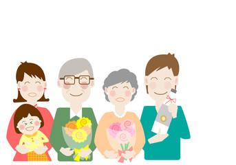 家族、お祝い、金婚式、敬老の日、親、親子、ファミリー、仲良し、二世帯