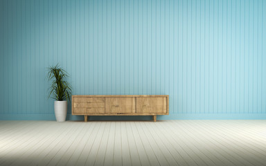 wood cabinet in blue wall living room 3d rendering..