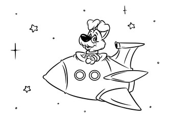 Dog rocket space flight cartoon illustration coloring pages