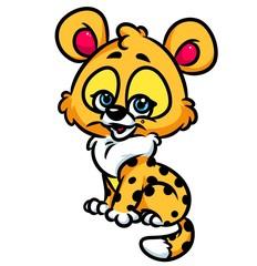 Leopard baby cartoon illustration  isolated image animal character