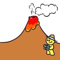 Smiley character volcano cartoon illustration
