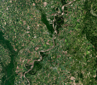Mississippi river from Landsat satellite. Elements of this image furnished by NASA.