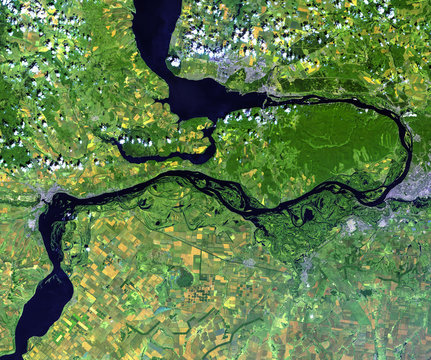 Volga river from Landsat satellite. Elements of this image furnished by NASA.