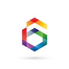 Colorful Hexagon Letter G Logo