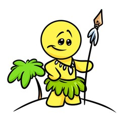 Smiley character native Papuan cartoon illustration  palm Island