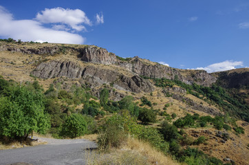 Cliff in river Arpa gorge. Road to Jermuk. Armenia