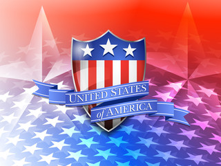 United States of America Shield on a Stars Background