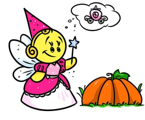 Smiley character Fairy Cinderella pumpkin cartoon illustration