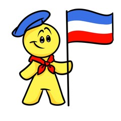 Smiley character French flag cartoon illustration isolated image