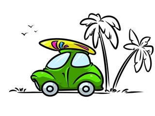 Car beach  surfing travel cartoon illustration