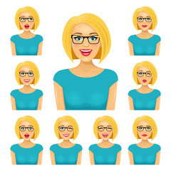 Attractive blond woman in glasses with nine different facial exppressions.