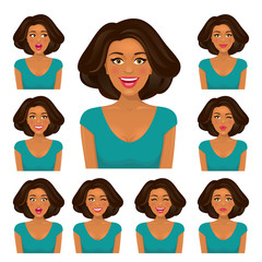 Attractive brunette woman with dark skin and nine variors facial expressions. Vector set on white background.