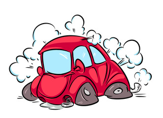 Red car accident flat tire cartoon illustration