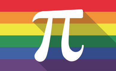 Long shadow gay pride flag with the number pi symbol