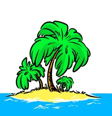 Illustration ocean Island palm isolated image