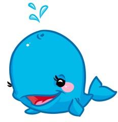 Blue Whale cartoon illustration  animal character