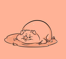 Pig mud puddle cartoon illustration