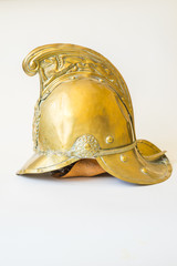 British Other Ranks Merryweather Brass Fire Helmet, side view
