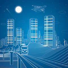 Train move on the bridge, sand dunes, mountains, desert, night city on background, infrastructure illustration, airplane fly, white lines, vector design art