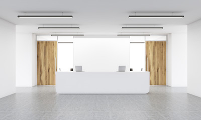 Blank wall and reception stand