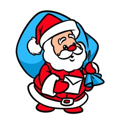 Christmas Santa Claus letter cartoon illustration  isolated image character