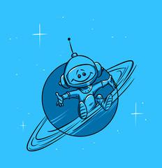 Cosmonaut planet Saturn poster cartoon illustration