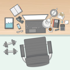 Quality Flat Design of workplace (top view) Vector illustration,