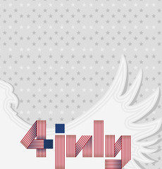 Greeting card for USA national holiday. Vector Background with Silhouette Eagle for Independence Day 4th of July.