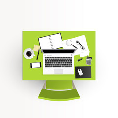 Realistic vector of Business desk, workplace design. Green desk.