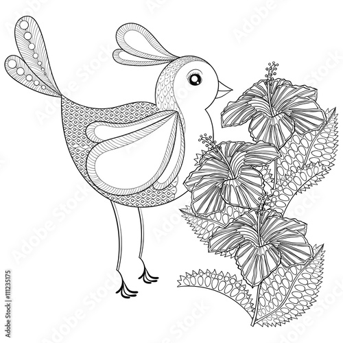 Zentangle Exotic Bird In Flowers Hand Drawn Ethnic Animal For A Stock Image And Royalty Free Vector Files On Fotolia