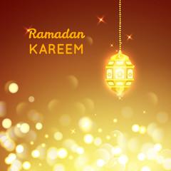 Beautiful Golden  lamp , Ramadan Kareem greeting on gold bokeh background
