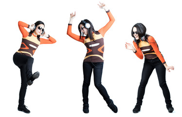 A cool-looking dancing girl in three poses, isolated on white background