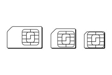 Mini, micro, nano sim cards silhouette outline