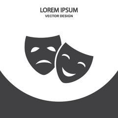 Drama and comedy masks icon on the background