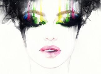 Ilustracja piękna twarz kobiety