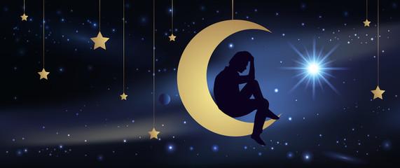 Amour - Lune - Ciel étoilé