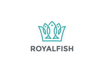 Crown of Fishes Logo design vector Linear style. Royal Fish icon