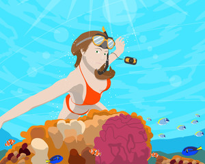 Woman diver photographer going to take pictures of marine fish near coral. Vector illustration