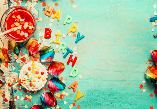 Happy birthday background with lettering, red decoration