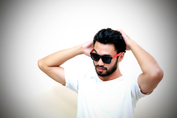 Asian handsome man Set hair and wearing sunglasses
