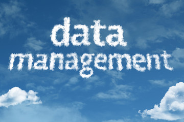 Data Management cloud word with a blue sky
