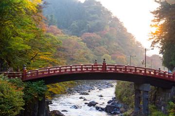Shinkyo Bridge during Autumn in Sunset. Nikko, Japan