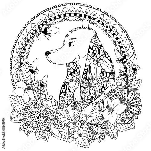 Vector illustration Zen Tangle Dog in round frame floral. Doodle Art ...