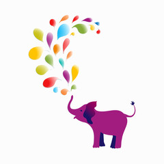 Baby elephant spraying colourful water drops over itself. It's ideal for designing cards, invitations, stickers, tags, and many more. Vector illustration for your design.