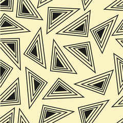Seamless pattern with black triangles. Abstract geometric background.
