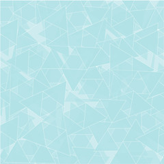 Seamless pattern with blue transparent triangles. The ice triangles. Abstract geometric blue background.