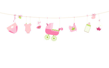 Baby shower card. Baby girl hanging symbols illustration