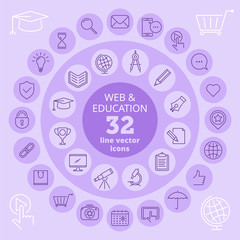 Web and education icon set. Social network, internet, communication, digital technologies and school vector line icons. Isolated infographic elements for print, publish, documents and presentations