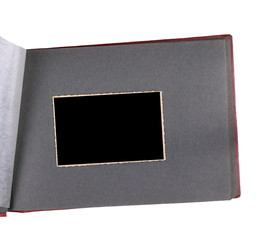 luxury page of vintage photo album, with old photo frames, isolated on white background